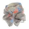 Blue, Pink and Grey Leaf Scarf