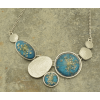 Turquoise and Silver Real Flower Necklace slate